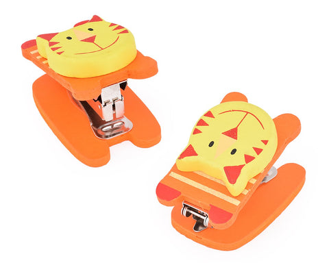 Wooden Desktop Mini Stapler Office Book Sewer - Tiger