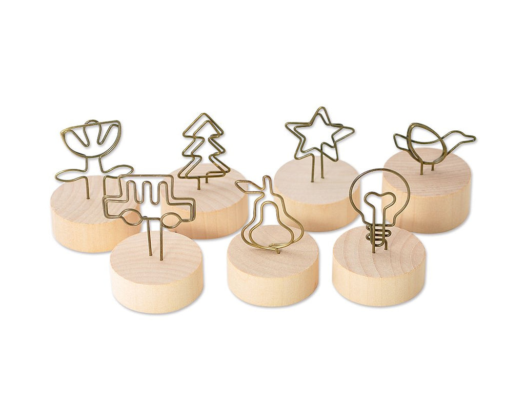 7 Pcs Wooden Circle Swirl Place Card Holder