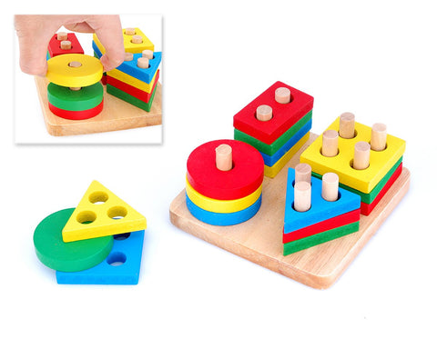 Children's Wooden Toy Intelligence Shape Sorter Stack Puzzle Tray
