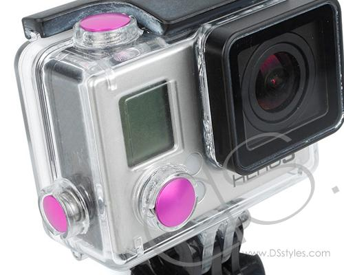 GoPro Aluminum Button Set for Hero 3+ Camera Housing - Pink