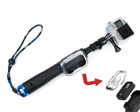 "GoPro 12""-28"" Telescoping Pole w/Remote Housing for Hero Camera - Blue"
