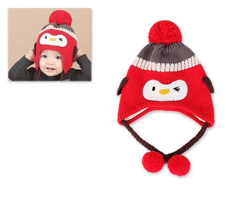 Penguin Warm Woolen Baby Hat with Earflap for 1-3 Years Old - Red