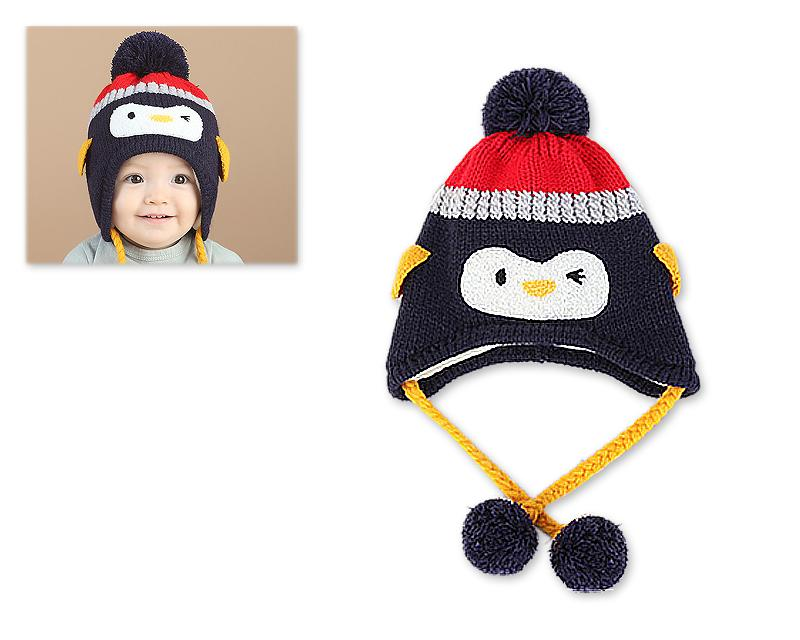 Penguin Warm Woolen Baby Hat with Earflap for 1-3 Years Old - Black