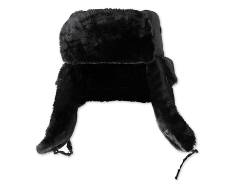 Winter Trapper Hat with Ear Flaps - Black