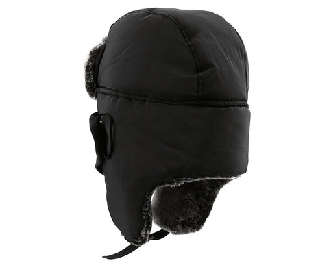 Winter Trapper Hat with Ear Flaps and Mask - Black
