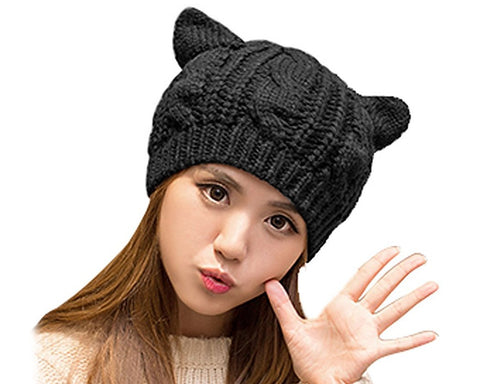 Korean Style Women Winter Cat Ear Knit Hat - Black