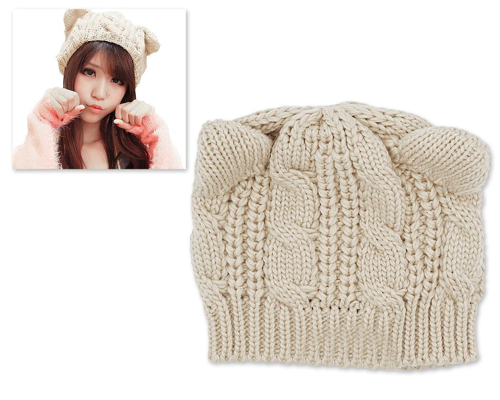 Korean Style Women Winter Cat Ear Knit Hat - Beige