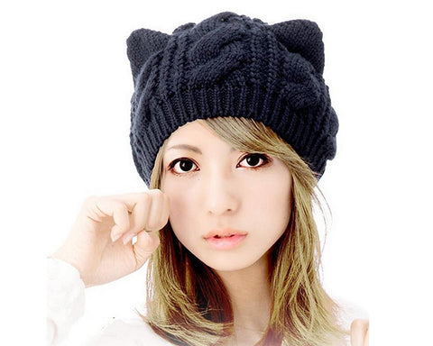 Korean Style Women Winter Cat Ear Knit Hat - Blue
