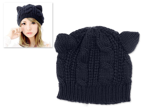 f2aa9eab5bb Korean Style Women Winter Cat Ear Knit Hat - Blue ...