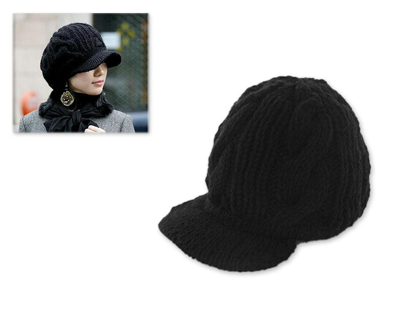 Visor Hat Style Women Winter Cable Knit Hat - Black