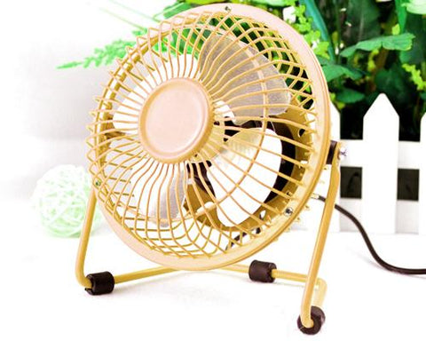Aluminium Fan Blade Series Mini USB Fan with Fan Cover - Yellow