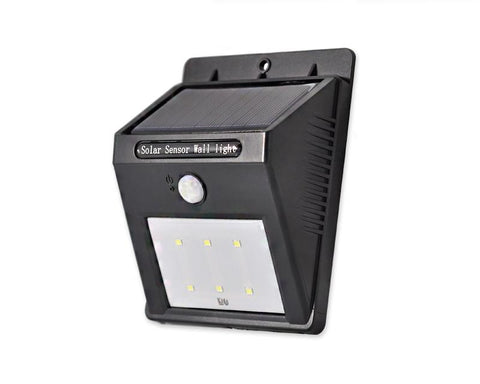 Solar Powered 6 LED Motion Sensory Outdoor Wall Light-Black