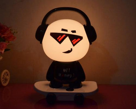 Cute Kid Cartoon Table Nightlight-Black DJ