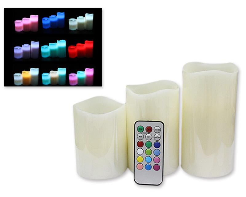 Set of 3 Remote Control LED Color Changing Flameless Candle Light