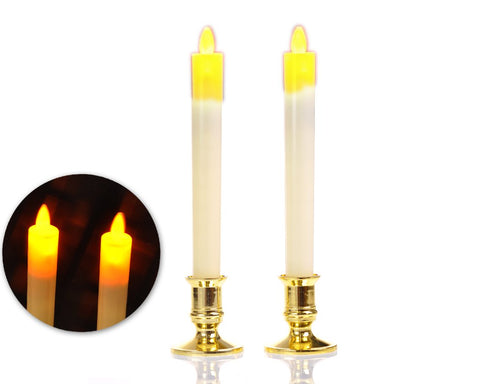 Set of 2 LED Flameless Taper Candle Night Light with Holder