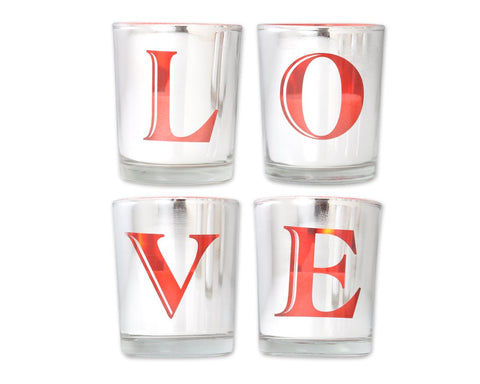 Set of 4 Plating Love Cup with Tealight Candles and Remote Control