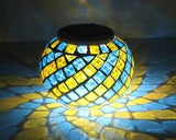 Solar Powered Mosaic Glass Color Changing LED Light -  Blue and Yellow