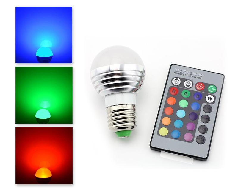 3W E27 Multiple Color LED Light Bulb with Wireless Remote Control