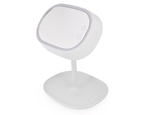 Compact LED Makeup Mirror with Table Lamp - White