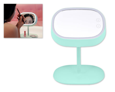Compact LED Makeup Mirror with Table Lamp - Green