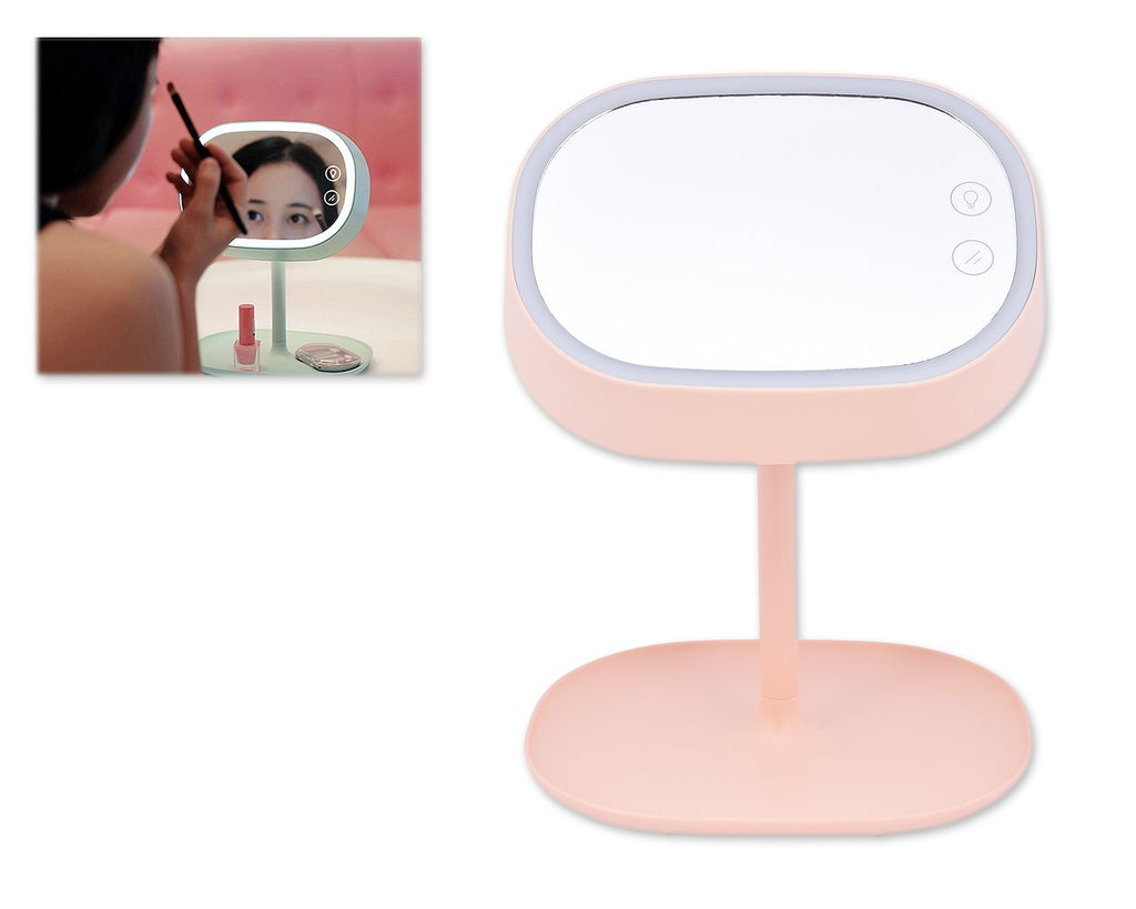 Compact LED Makeup Mirror with Table Lamp - Pink