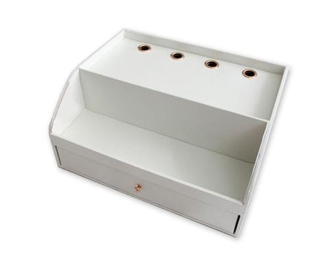 PU Leather Wooden Desk Decor Cosmetic Storage Box with Drawer - White