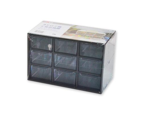 9 Drawers Plastic Decor Cosmetic Desktop Storage Box - Black