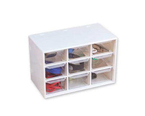 9 Drawers Plastic Decor Cosmetic Desktop Storage Box - White