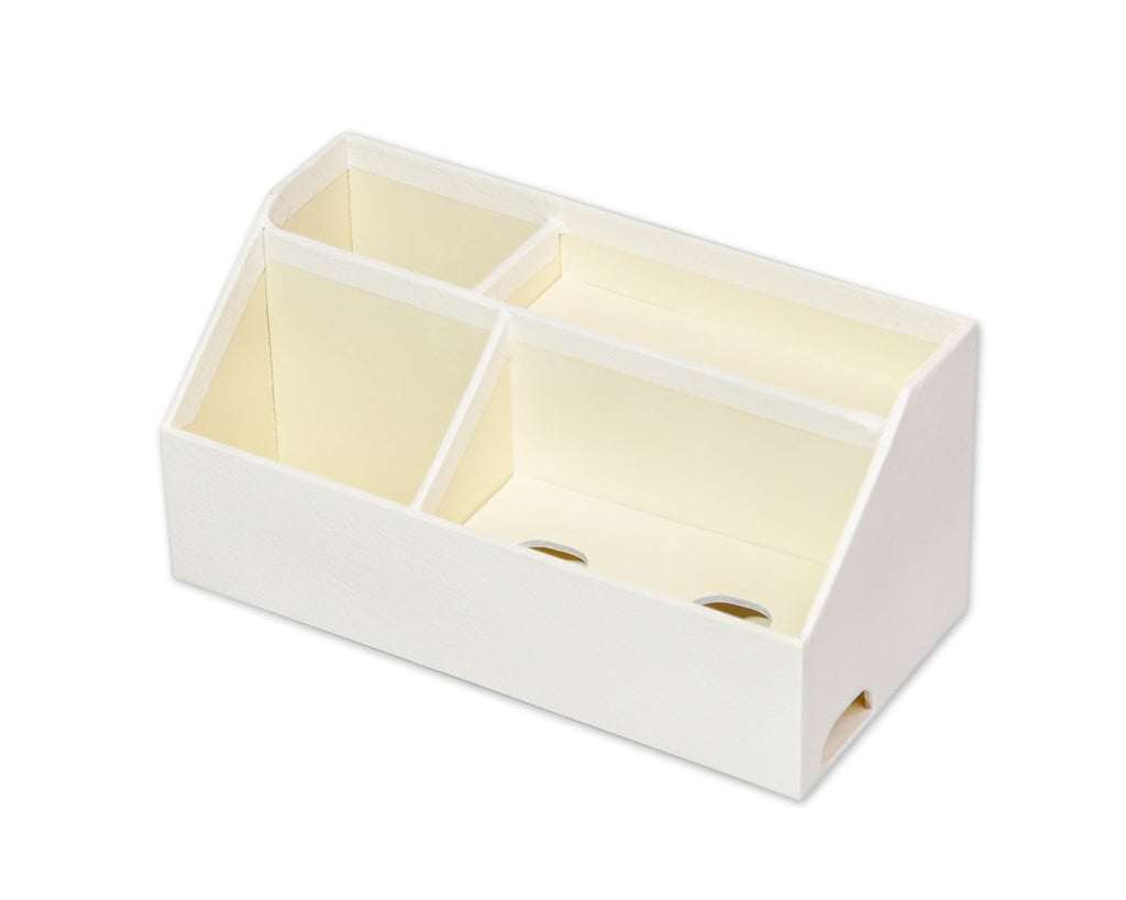 4 Compartments Cosmetic Home Essentials Organizer Storage Box - White