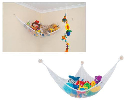Toy Storage Organizer Hammock Net for Stuffed Animals - White