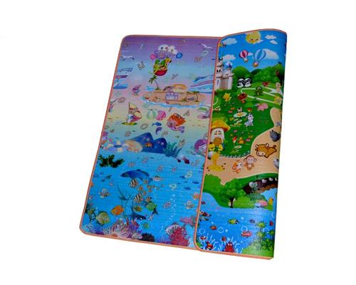 200x180 1cm Thick Two Sided Foldable Waterproof Baby Crawling Mat - C