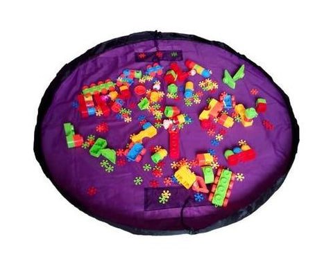 59 inches Extra Large Portable Playing Mat Toy Storage Bag - Purple