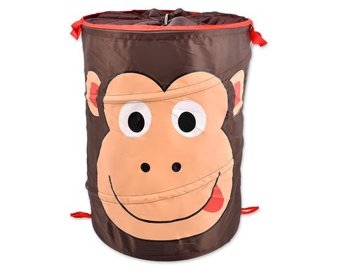 Cartoon Monkey Foldable Pop-up Laundry Basket - Brown