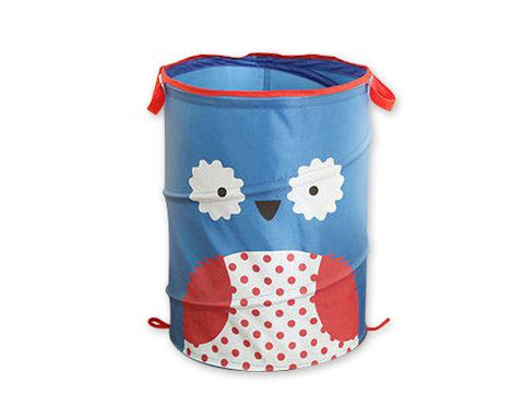 Cartoon Owl Foldable Pop-up Laundry Basket - Blue