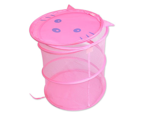 Cartoon Cat Foldable Pop-up Laundry Hamper - Pink