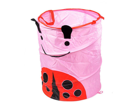 Cartoon Ladybug Foldable Pop-up Laundry Basket - Pink