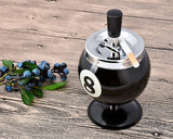 One Push Spinning Pool Ball Ashtray with Stand - Black