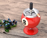 One Push Spinning Pool Ball Ashtray with Stand - Red
