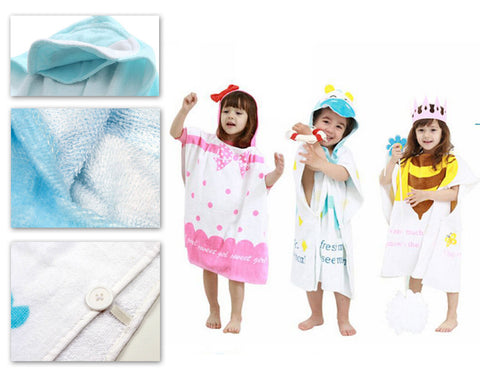 1.2 meters Cartoon Bathrobe Cloak for Kids