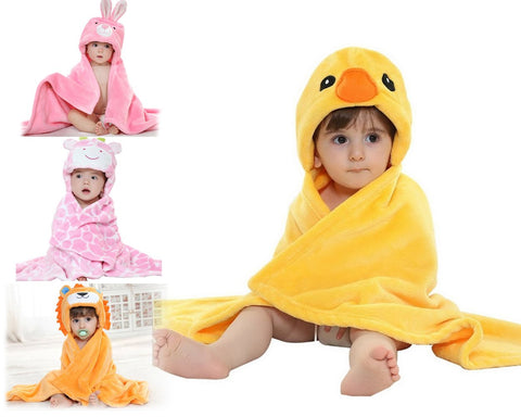 Animal Series Bably Fleece Hooded Snuggle Baby Blanket