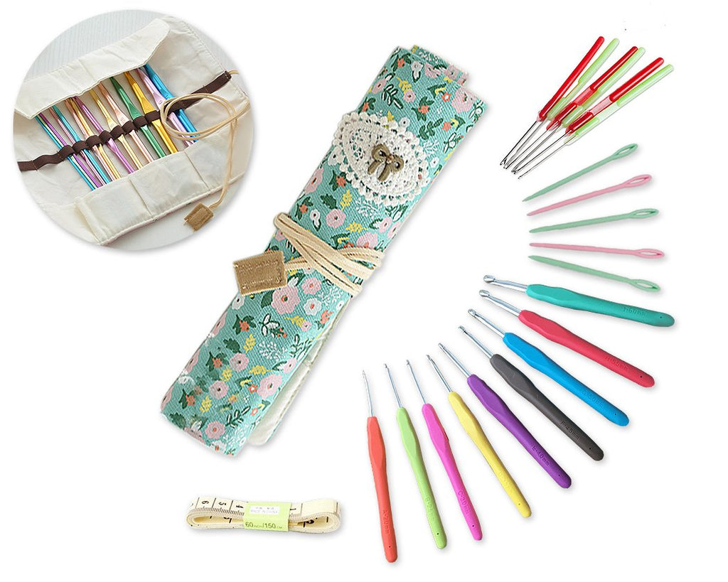 21 Pcs Crochet Hooks and Accessories Set with Case - Set C