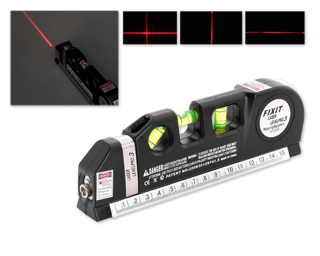 Multipurpose Laser Level with Bubble Level Measure Tape and Rulers