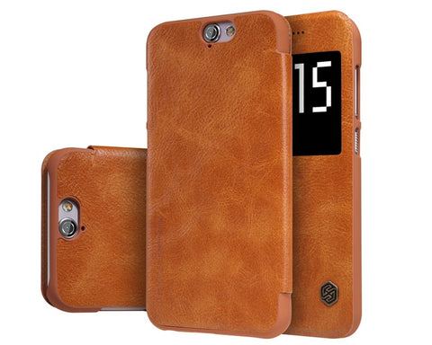 Eyelet Pro Series HTC One A9 Flip Leather Case - Brown