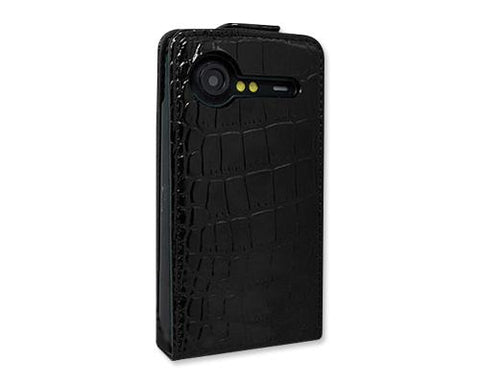 Krokodil Series HTC Incredible S Flip Leather Case S710e - Black