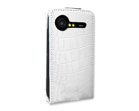 Krokodil Series HTC Incredible S Flip Leather Case S710e - White