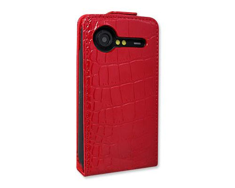 Krokodil Series HTC Incredible S Flip Leather Case S710e - Red