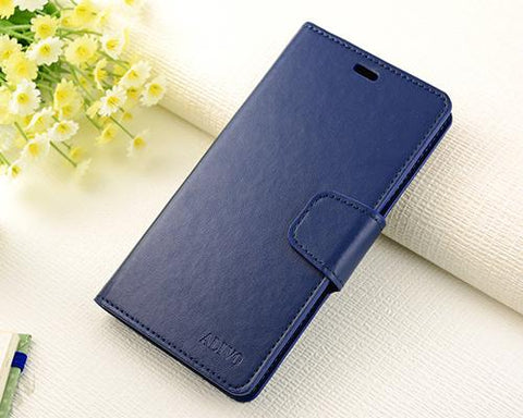 Fold Series Huawei P8 Flip Leather Case - Blue