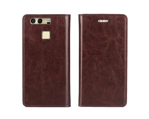 Wallet Series Huawei P9 Genuine Leather Case - Maroon