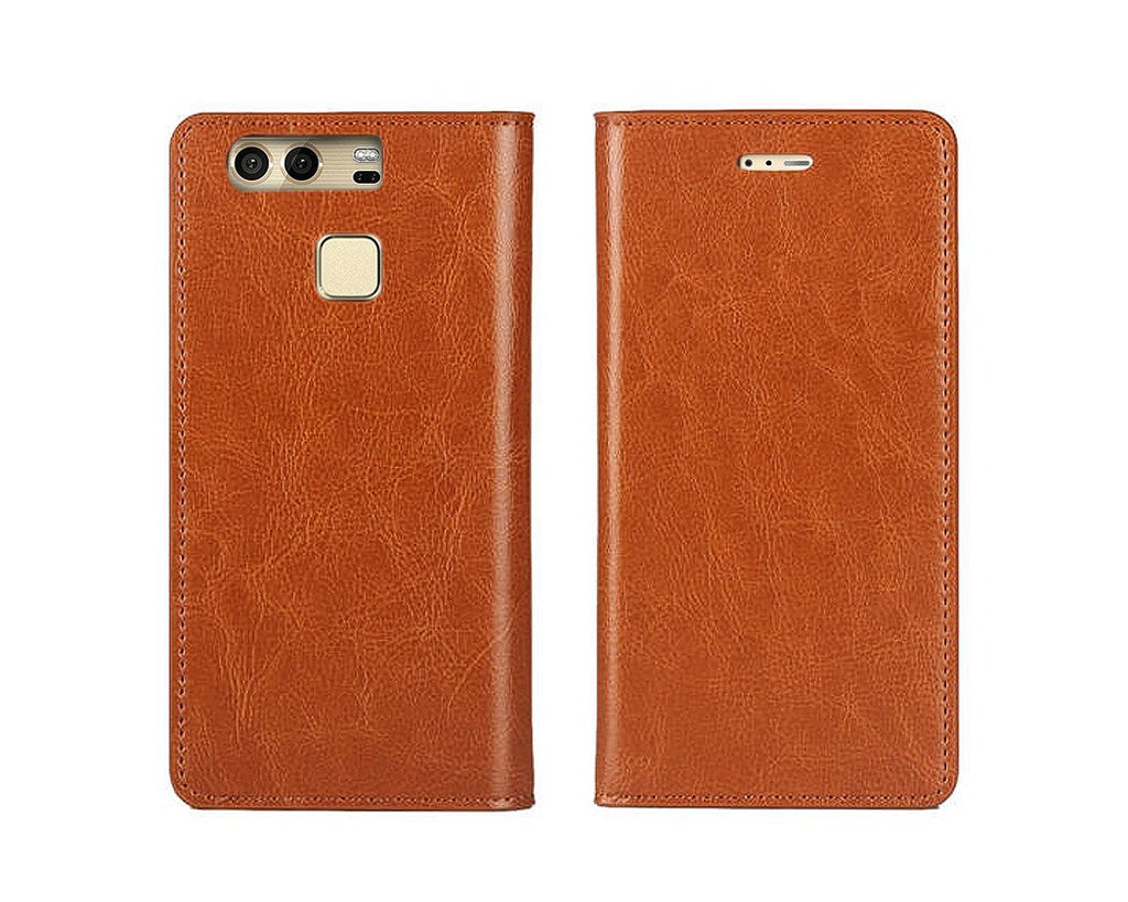 Wallet Series Huawei P9 Genuine Leather Case - Brown