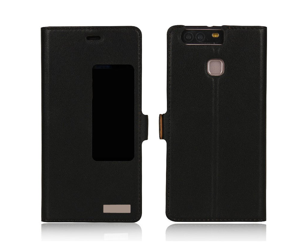 Smart Series Huawei P9 Genuine Leather Case - Black